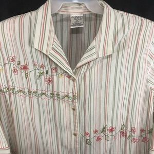 Allison Daley Embroidered Striped Blouse Plus 20W